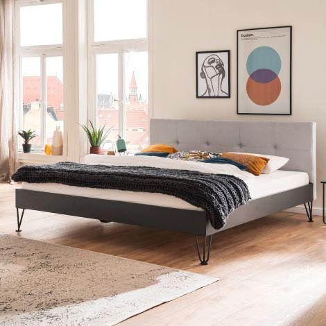 Doppelbett Bosko 160x200 mit Haarnadelfüßen - beige/grau