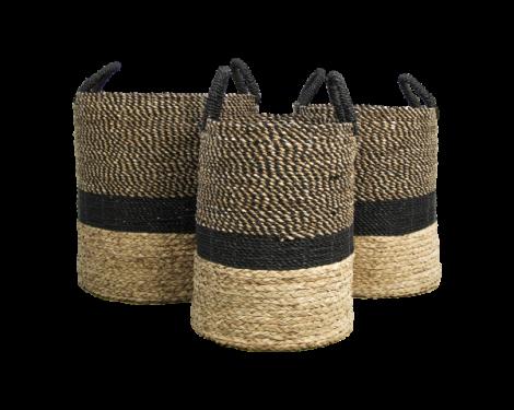 Set aus 3 Körben Malibu - schwarz/natur - Wasserhyazinthe
