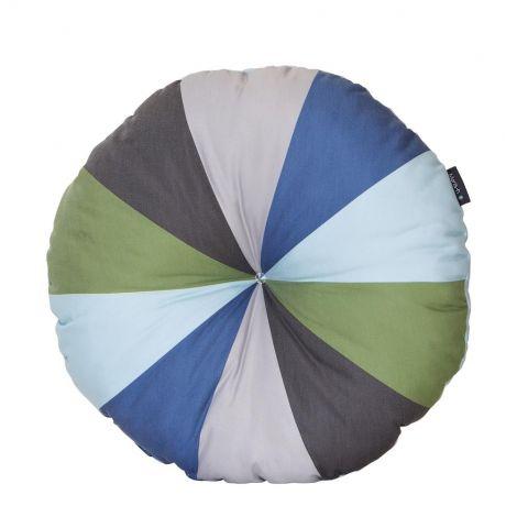 Rundes dekoratives Kissen - grün/blau
