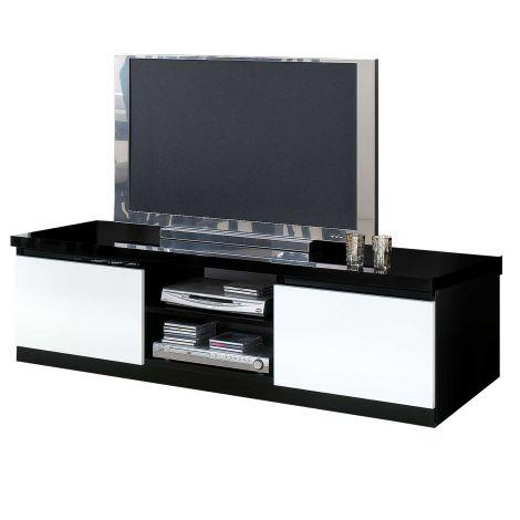 Fernsehschrank Roma 150cm - schwarz/weiß