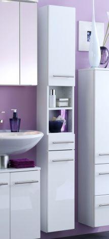 Säulenschrank Small 25cm 1 Schublade und 2 Türen - hochglänzend weiß