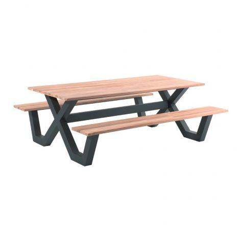 Picknicktisch Charles 220x100 - schwarz/teak