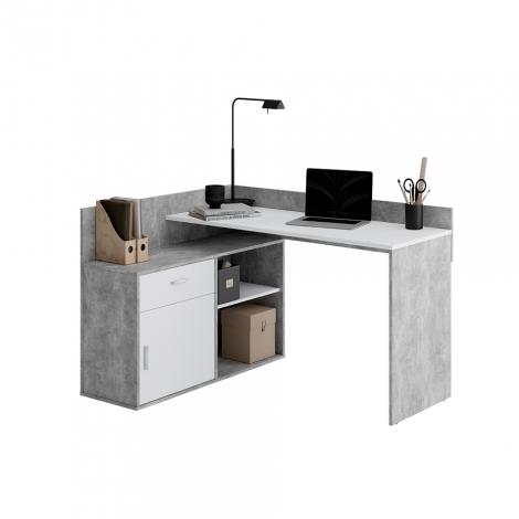 Eckschreibtisch Pjotr - Beton/Weiß