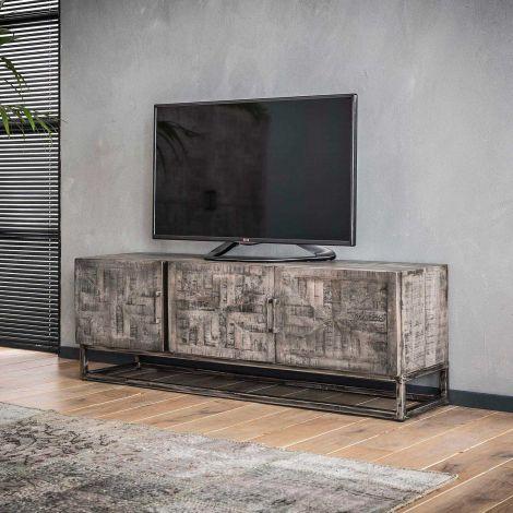 TV-möbel grado - Massiv mango Grau antique
