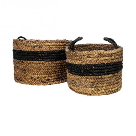 Set mit 2 Körben Malibu - schwarz/natur - Wasserhyazinthe