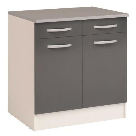 Unterschrank Eko 80cm 2 Türen und 2 Schubladen - grau