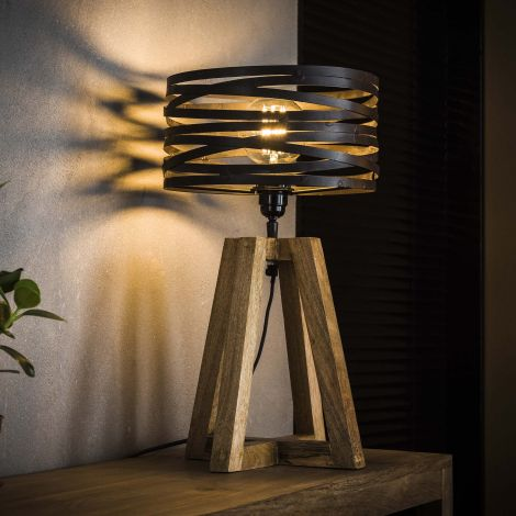 Tischleuchte aus Holz mit Kreuzrahmen - Slate grey