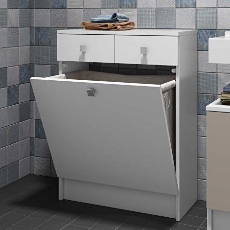Badezimmerschrank Variety mit Wäschekorb - weiß