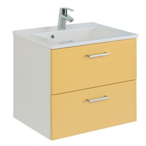 Waschtischunterschrank Ricca 60cm 2 Schubladen - weiß/gelb