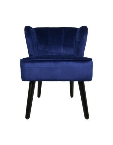 Cocktailstuhl Estelle - Samt - dunkelblau