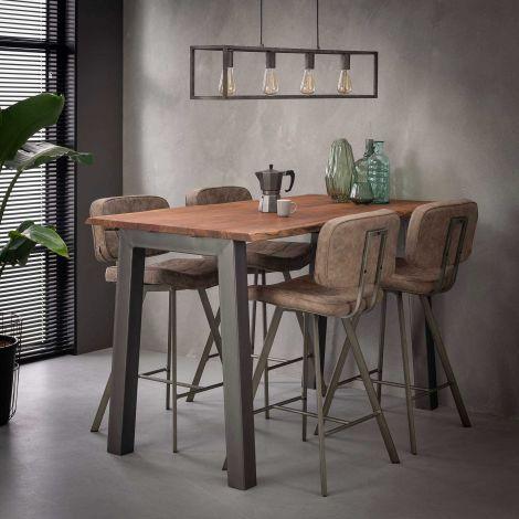 Edge Bartisch 147x80 mit Akazienholz - braun/grau