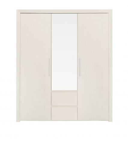 Luisa Kleiderschrank 184cm mit 3 Türen und Spiegel - gebleichtes Eschenholz