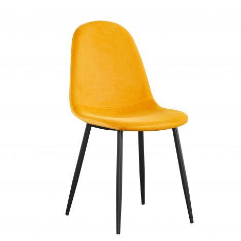 Satz von 4 Stühlen Jo samt - gelb