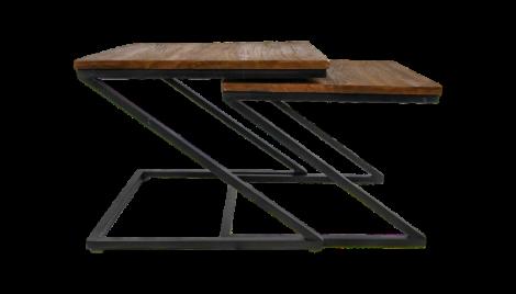 Couchtisch Taylor - 55x55 cm - natur / schwarz - 2er-Set
