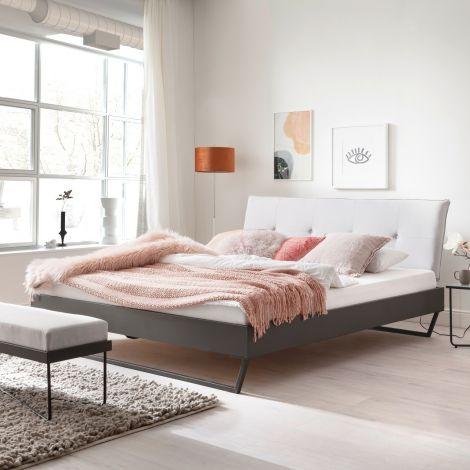 Doppelbett Bastos 180x200 mit Schlittenfüßen - beige/grau