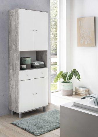 Badezimmerschrank Andrew 1 Schublade und 4 Türen - weiß/Beton