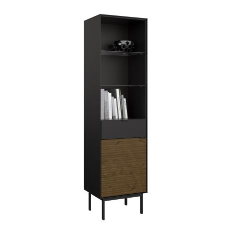 Dispaly cabinet SOMA 134 - Display cabinet with 1 door and 1 drawer - BLACK/ESPRESSO