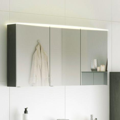Spiegelschrank Florent gebogen 100cm mit 3 Türen und LED-Lichtleiste - graphit