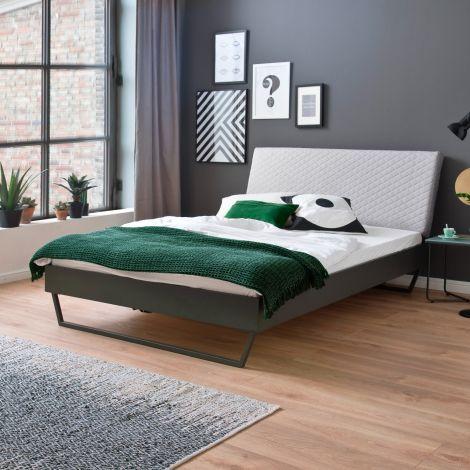 Doppelbett Visca 140x200 mit Schlittenfüßen - beige/grau
