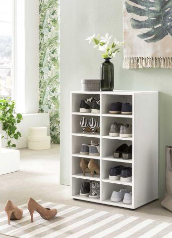 Schuhregal mit 10 Fächern - Beton Melamin Dekor