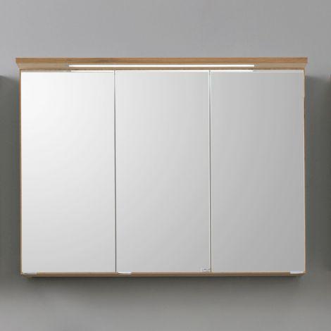 Spiegelschrank Bobbi 100cm Modell 1 3 Türen und led Licht - Eiche