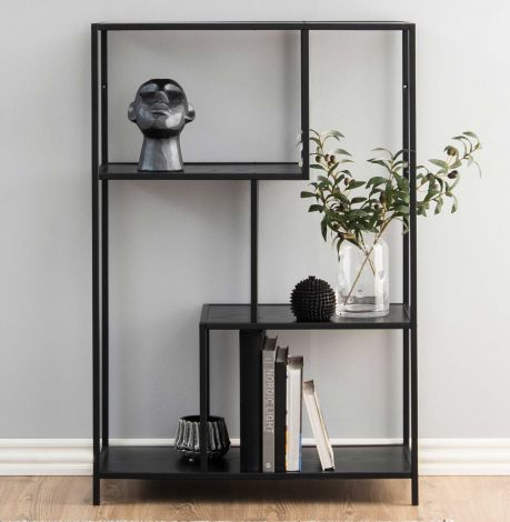 Seaford bookcase, 2 shelves - matt black