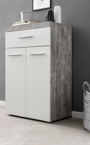 Hochkommode mit 2 Türen und 1 Schublade, Korpus Beton mit Fronten in Weiß Melamin Dekor - Beton Melamin Dekor