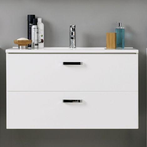 Waschtischunterschrank Bobbi 90cm 2 Schubladen - weiß