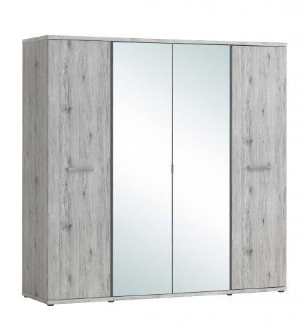 Kleiderschrank Forever 220cm mit 4 Türen und Spiegel - Eiche grau