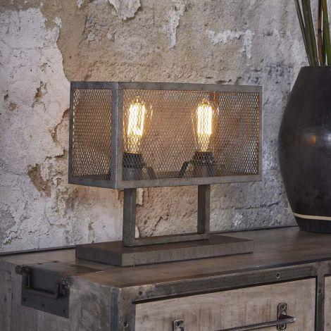 Tischlampe Rechteck Raster mit 2 Lampe - Alt Silber Finish