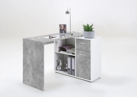 ALBRECHT 1 - Schreibtisch-Kombination - Beton LA/weiß