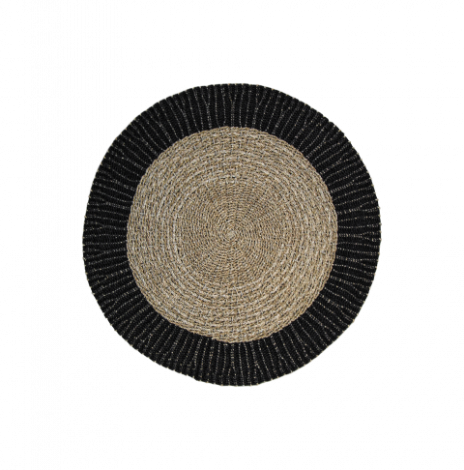 Teppich Malibu 150cm Raphia/Meeresgras natur/schwarz