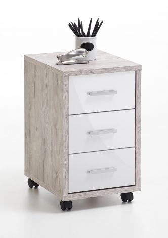 DIEGO 2 - Rollcontainer - Sandeiche Nb/Hgl weiß