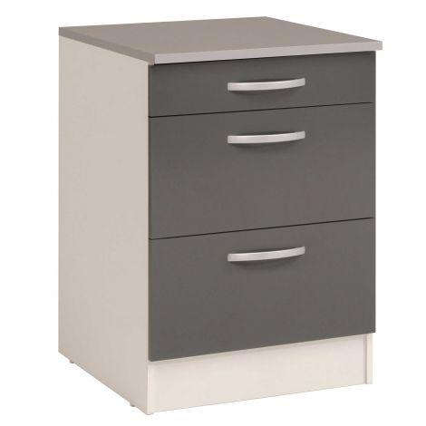 Unterschrank Eko 60x60 mit 3 Schubladen - grau