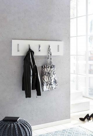 Garderobenpaneel quer mit 5 Haken - Melamine Decor Wei
