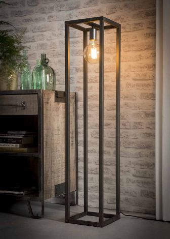 Stehlampe 25x25 Quadratrohr - Silber-Finish