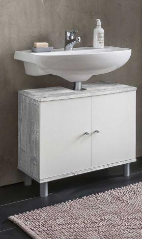 Waschtischunterschrank Benja 2 Türen - Weiß/Beton