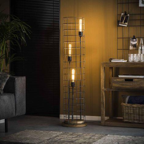 Stehlampe 3L Ø31 Holzsockel - Grau