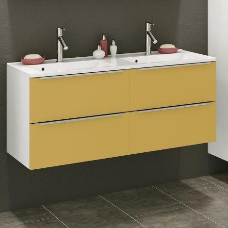 Waschbeckenschrank Hansen 120cm 4 Schubladen - gelb/weiß