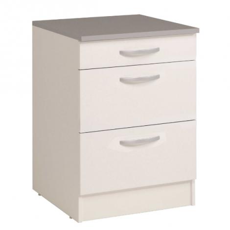 Unterschrank Eko 60x60 mit 3 Schubladen - weiß