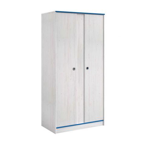 Kleiderschrank Smoozy 90cm 2 Türen - weiß/rosa oder weiß/blau