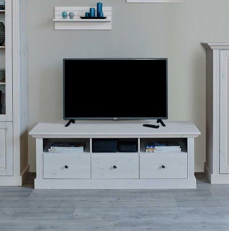 TV unit MONACO 710 - TV stand with 3 drawers - WHITE WASH