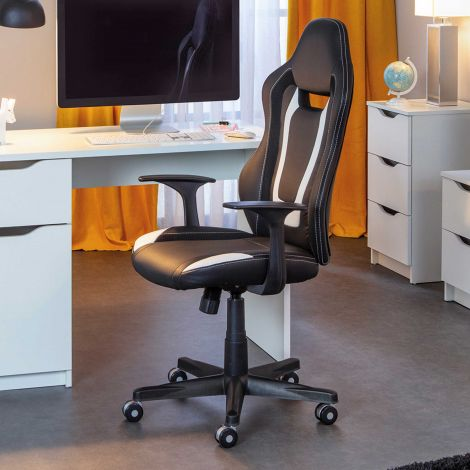 Schreibtischstuhl Cool Life - schwarz/weiß