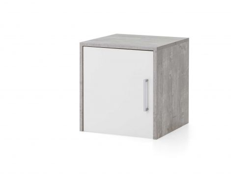 Oberschrank Maxi-office 1 Tür - Beton/Weiß