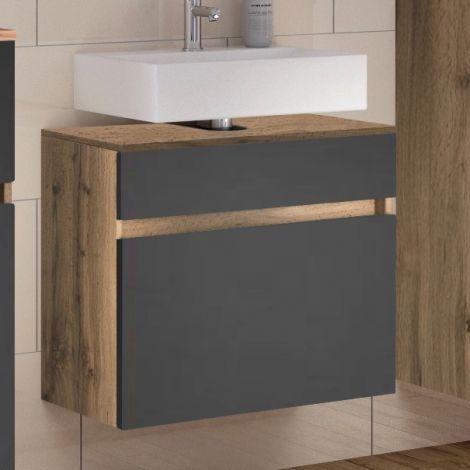 Waschbeckenschrank Luna 60cm 1 Schublade - Eiche/grau