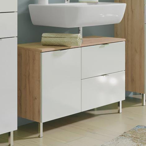 Waschbeckenschrank Mauro 80cm mit 2 Türen und Schublade - Eiche/Weiß