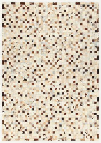 Teppich In Leder Patchwork 200x140 - beige