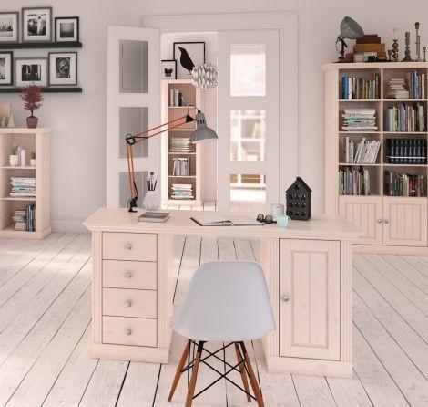 Schreibtisch Edmund 150 cm mit 1 Tür und 4 Schubladen - weiß