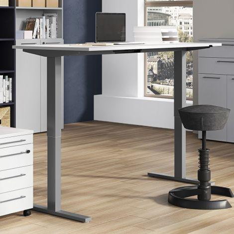 Steh-Sitz-Schreibtisch Osmond 160cm elektrisch verstellbar - hellgrau/silbern