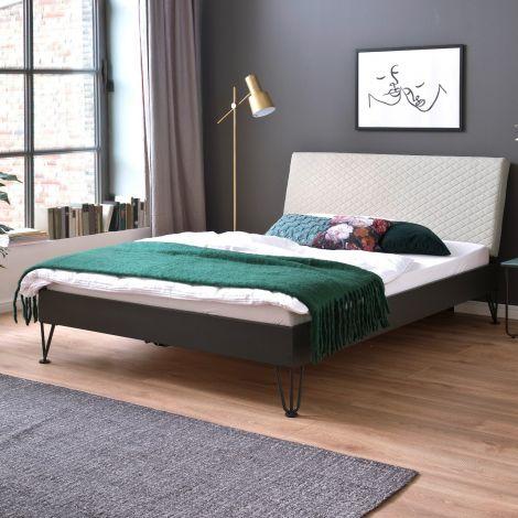 Doppelbett Visca 140x200 mit Haarnadelfüßen - beige/grau